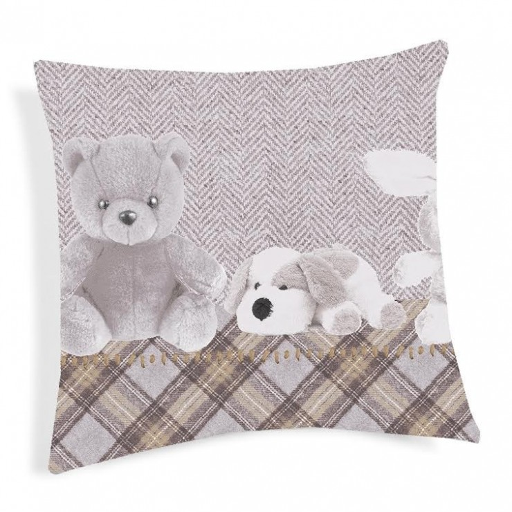 Pillowcase Plushies beige 40x40 cm Made in Italy