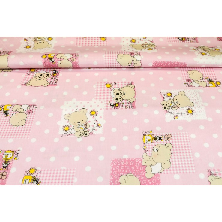 Cotton fabric Teddy bear pink, h. 145 cm
