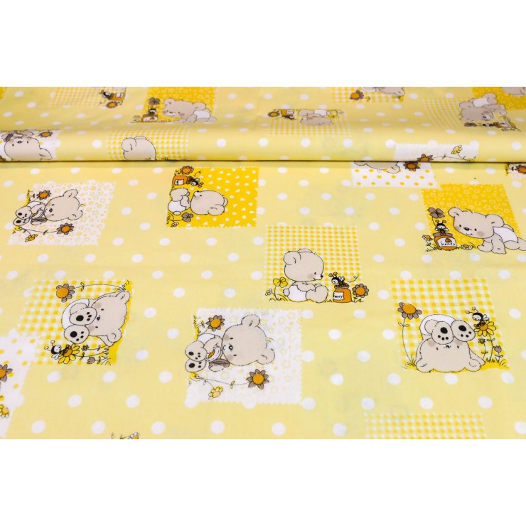 Cotton fabric Teddy bear yellow, h. 145 cm