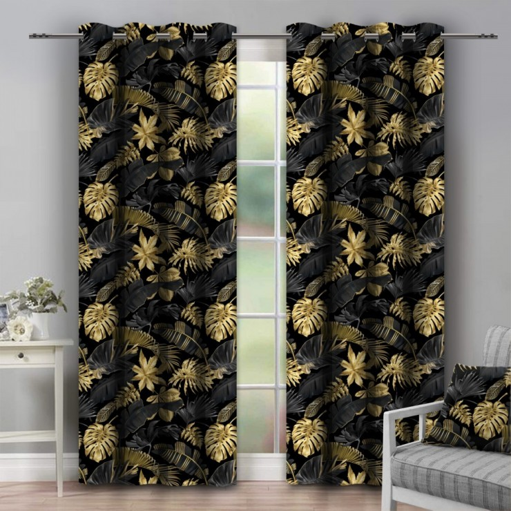 Curtain on rings 140x250 cm black, monster leaf