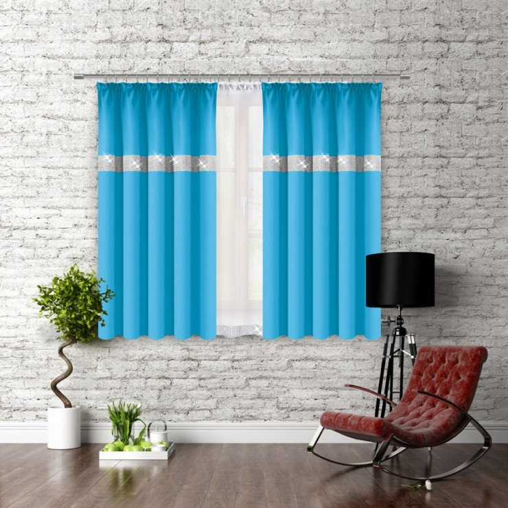 Curtain with plater tape and with zircons 140x160 cm turquoise blue