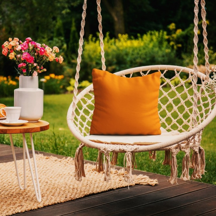 Waterproof garden cushion 50x50 cm orange