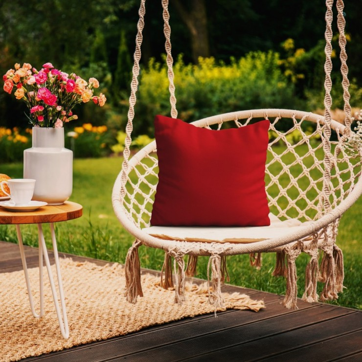 Waterproof garden cushion 50x50 cm red