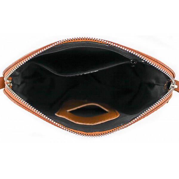 Kožená kabelka na rameno 1310 šedohnedá