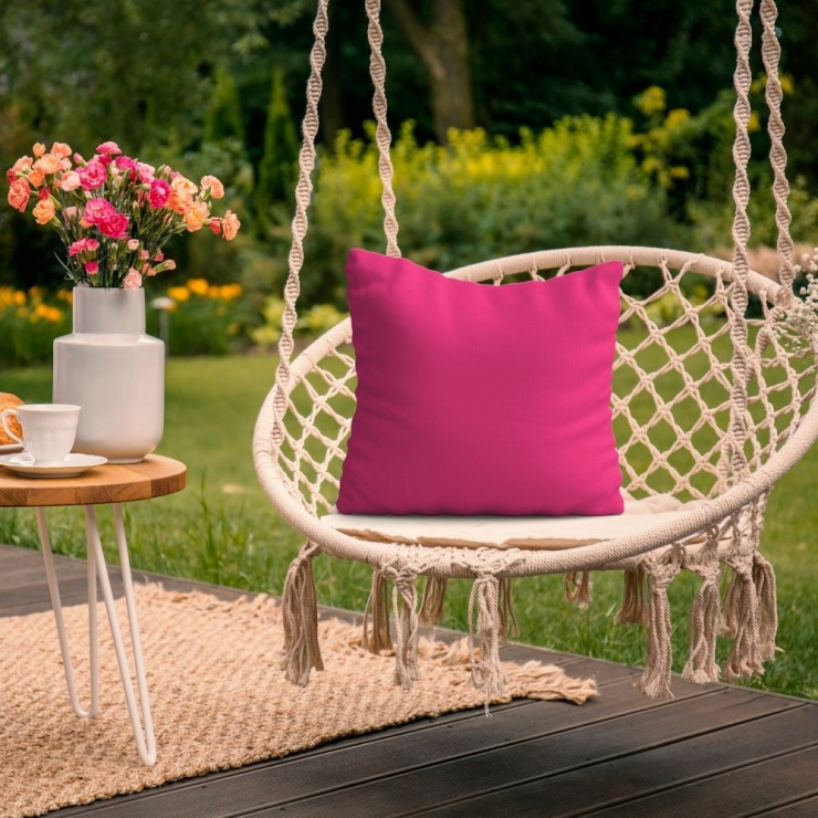 Waterproof garden cushion 50x50 cm dark pink