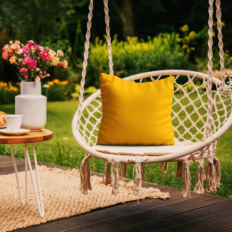 Waterproof garden cushion 50x50 cm yellow