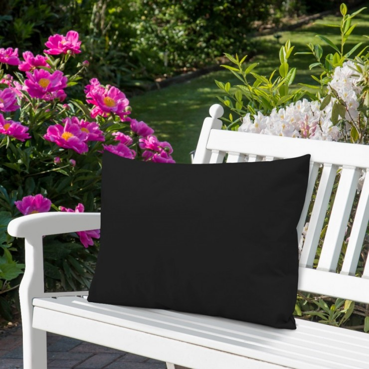 Waterproof garden cushion 50x70 cm black