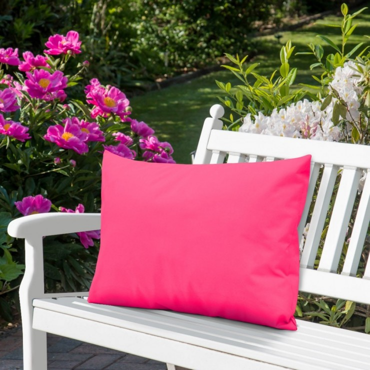 Waterproof garden cushion 50x70 cm dark pink