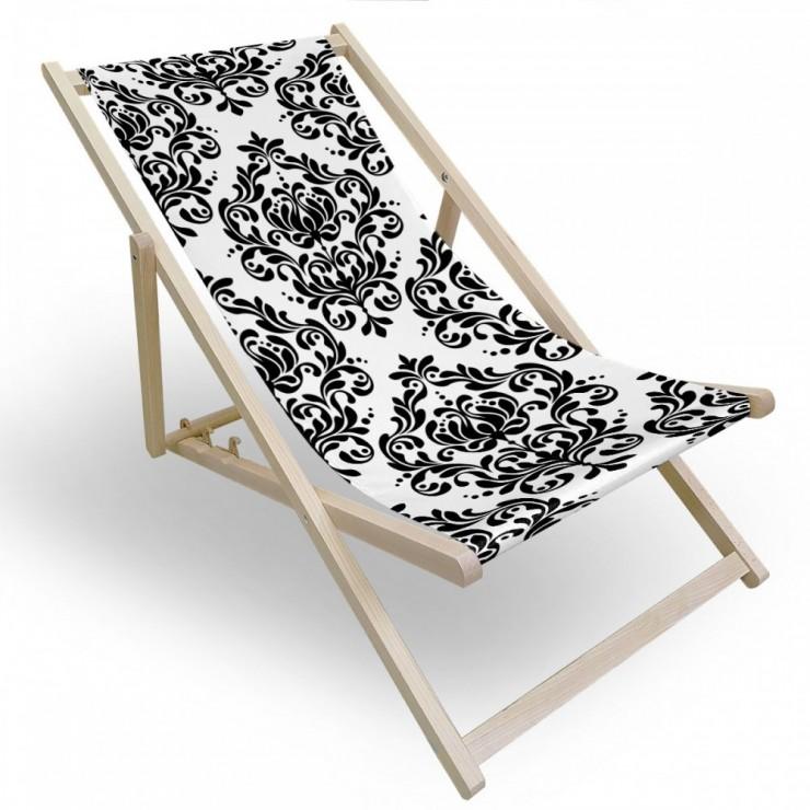 Garden chair black+white, barowue ornament