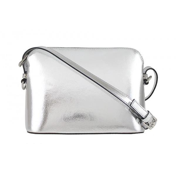 Kožená kabelka na rameno 1310 strieborná