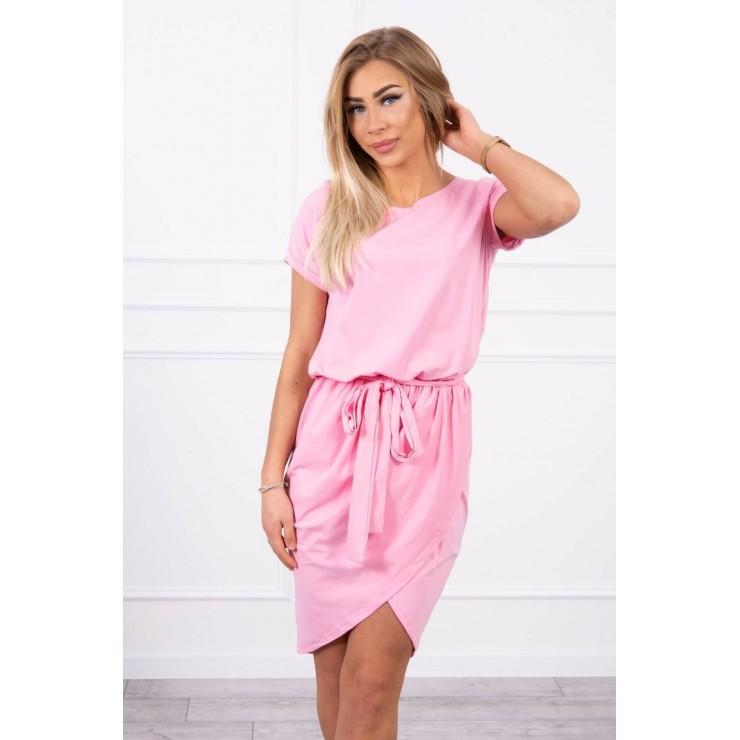 Cotton dress with belt MI8980 light pink
