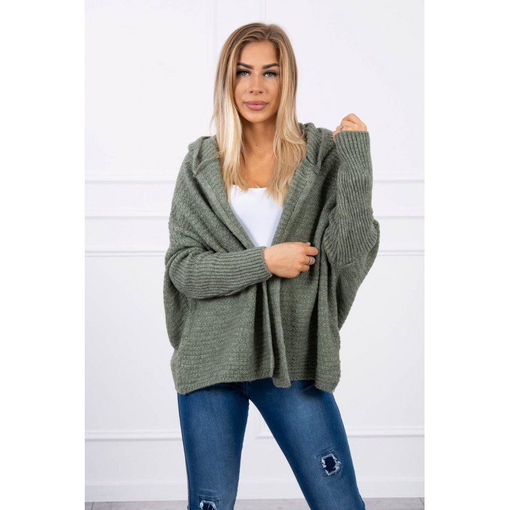 Sweater with hood and sleeves bat type MI2019-16 light green