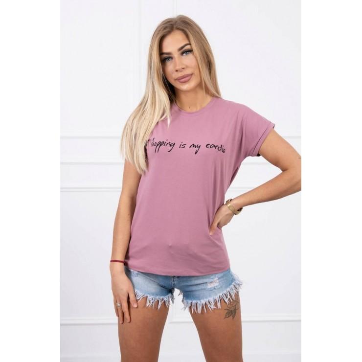 Dámske tričko SHOPPING IS MY CARDIO tmavoružové MI65297