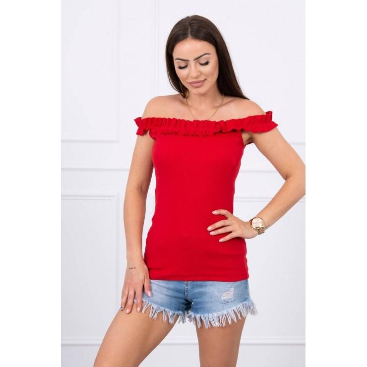 Tričko so zdobenými ramienkami MI9096 červené