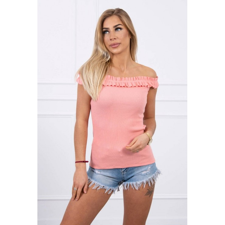 Tričko so zdobenými ramienkami MI9096 marhuľové