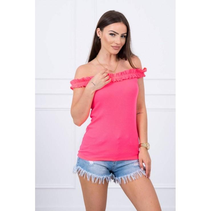 Tričko so zdobenými ramienkami MI9096 neónovo ružové