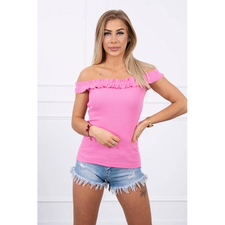 Tričko so zdobenými ramienkami MI9096 svetloružové