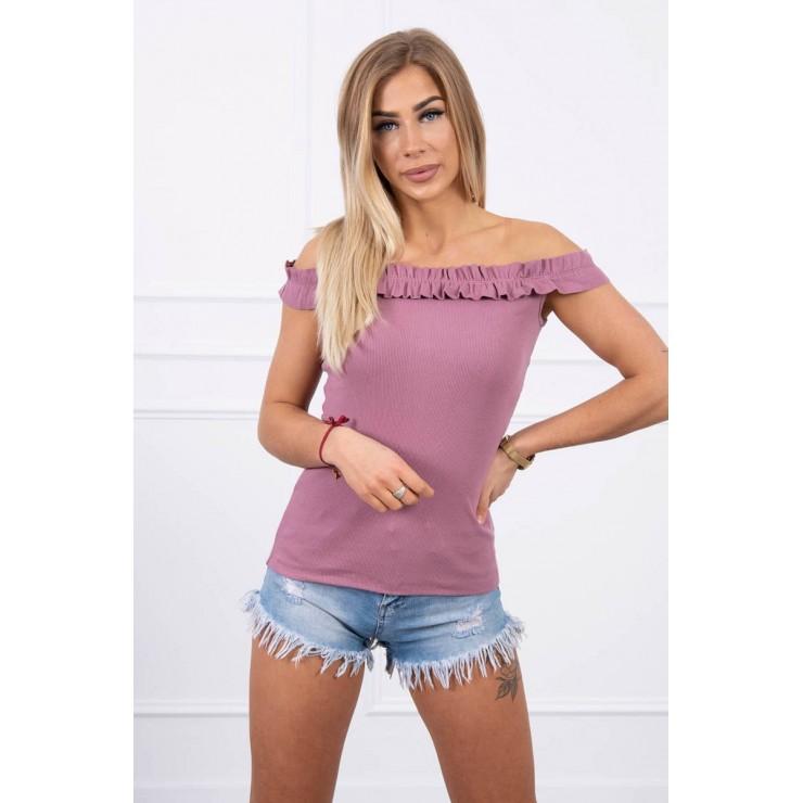 Tričko so zdobenými ramienkami MI9096 tmavoružové