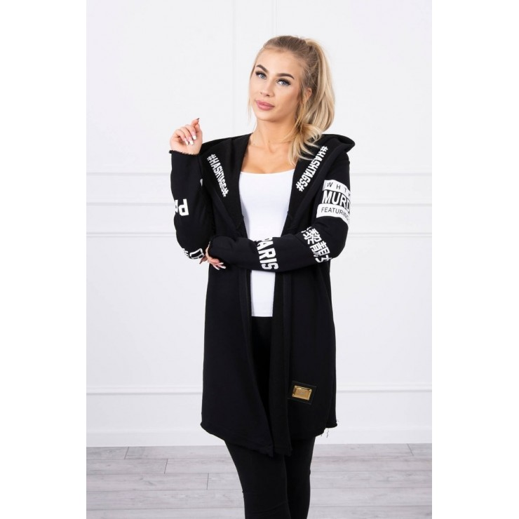 Cardigan with subtlitles MI033 black