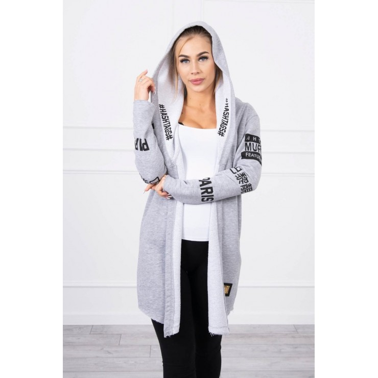 Cardigan with subtlitles MI033 gray