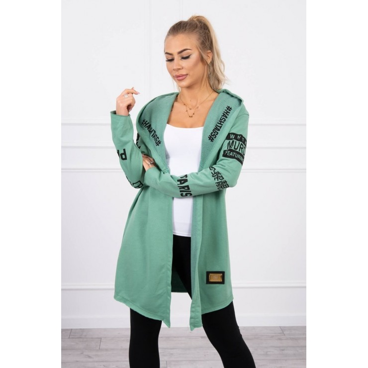 Cardigan with subtlitles MI033 dark mint