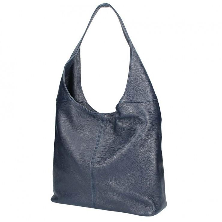 Tmavomodrá kožená kabelka na rameno 5308