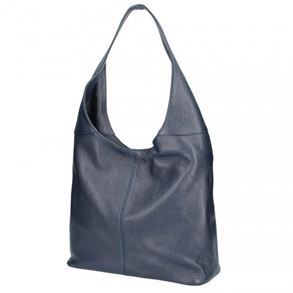 Tmavě modrá kožená kabelka na rameno 590