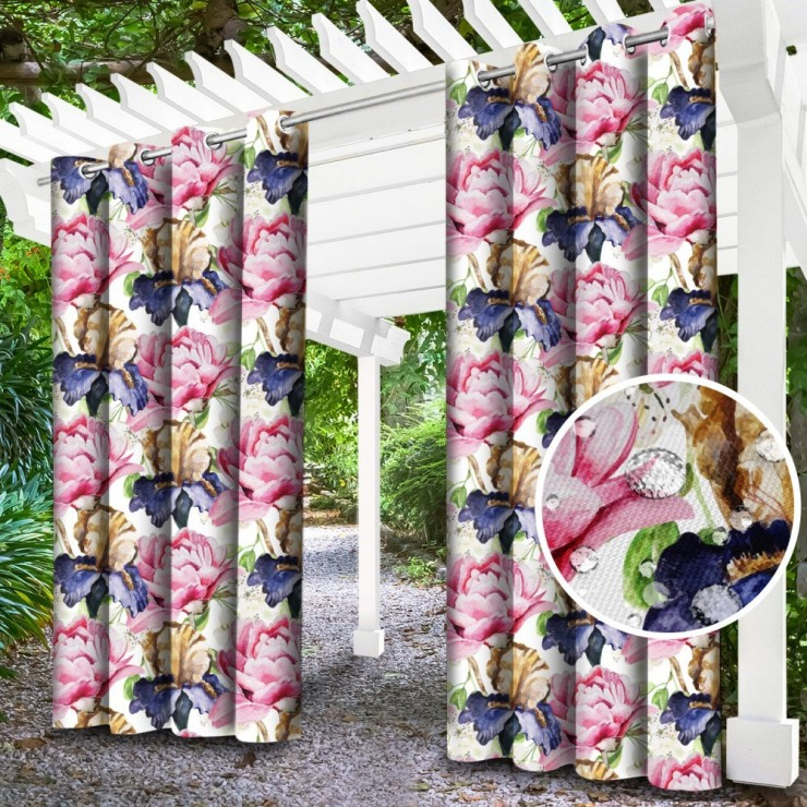 Garden curtain on rings on the terrace MIG143C