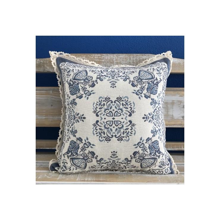 Gobelinová obliečka na vankúš 42x42 cm A005 Čičmánsky vzor modrá