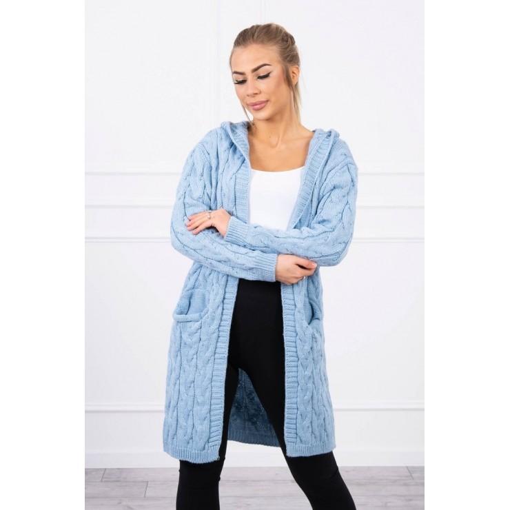Dámsky sveter s kapucňou a vreckami MI2019-24 nebesky modrý