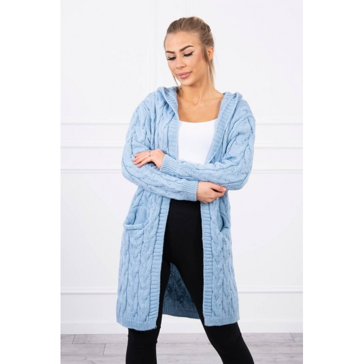 Women's sweater with hood and pockets MI2019-24 sky blue