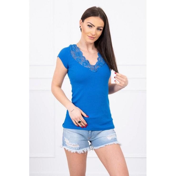Dámske tričko s výstrihom čipky MI8987 azurovo modré