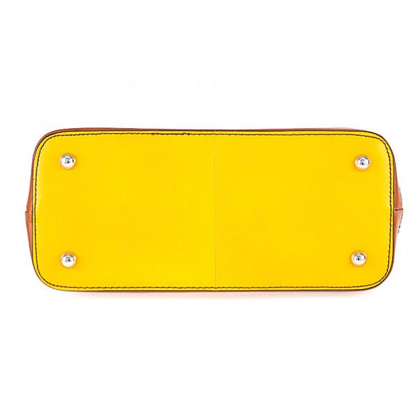 Dámska kožená kabelka 900 oranžová + koňak