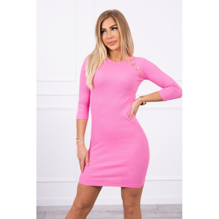 Women's dress decorated with buttons MI5918 light pink