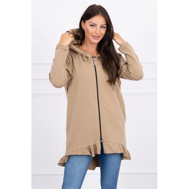 Ladies zip sweatshirt decorated with frill MI8999 camel