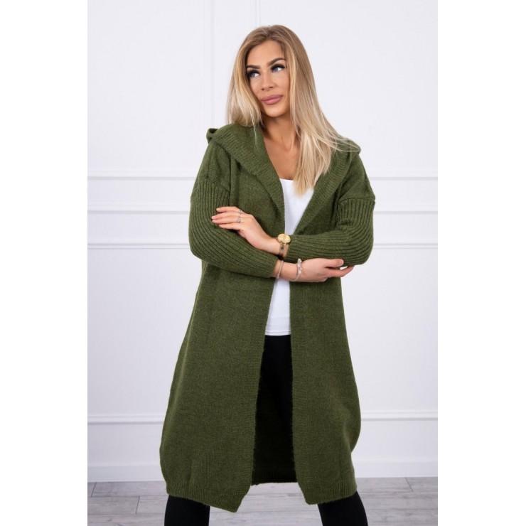 Dámsky sveter s kapucňou MI2020-14 tmavozelený