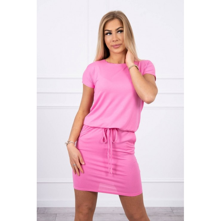 Viscose dress tied at the waist with short sleeves MI9074 light pink