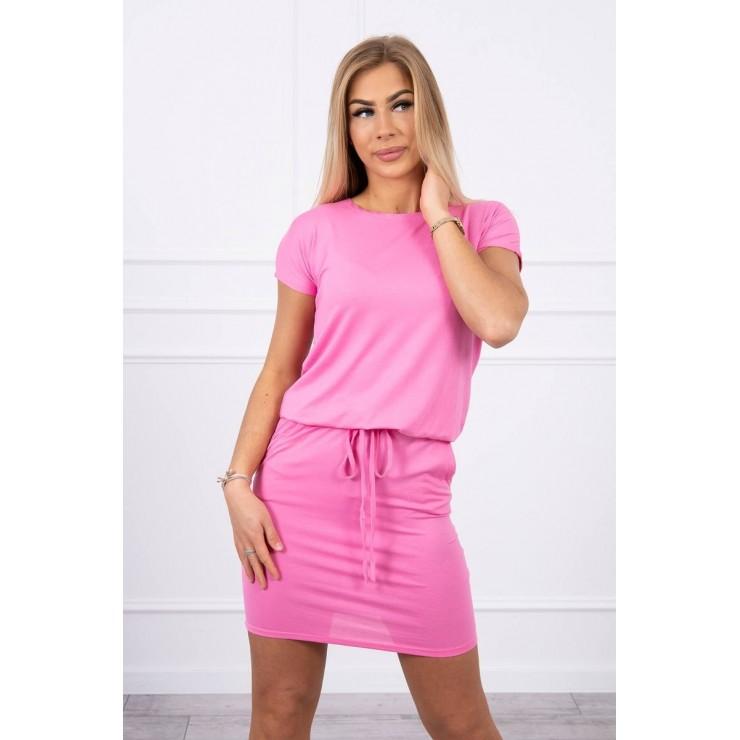 Viskózové šaty zviazané v páse s krátkym rukávom MI9074 svetloružové