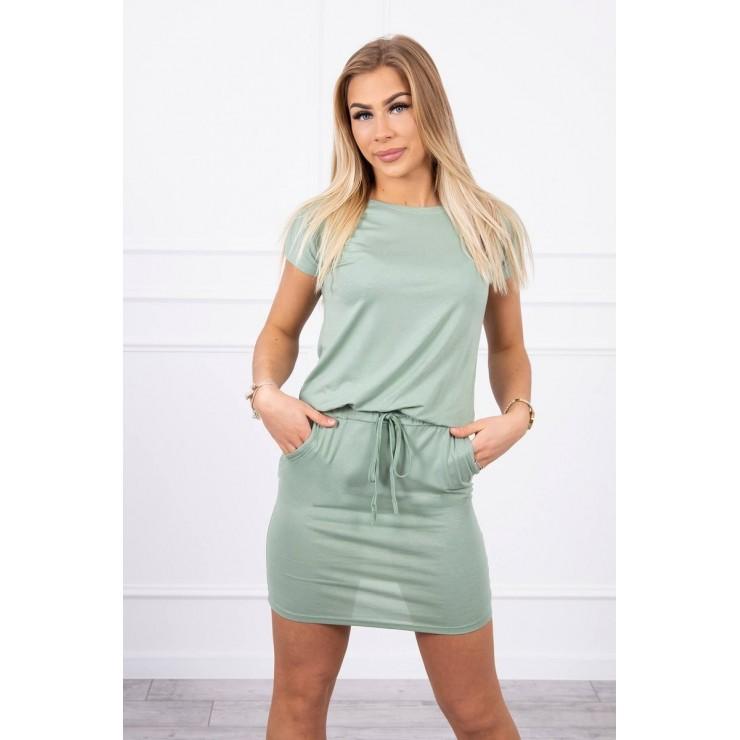 Viscose dress tied at the waist with short sleeves MI9074 dark mint