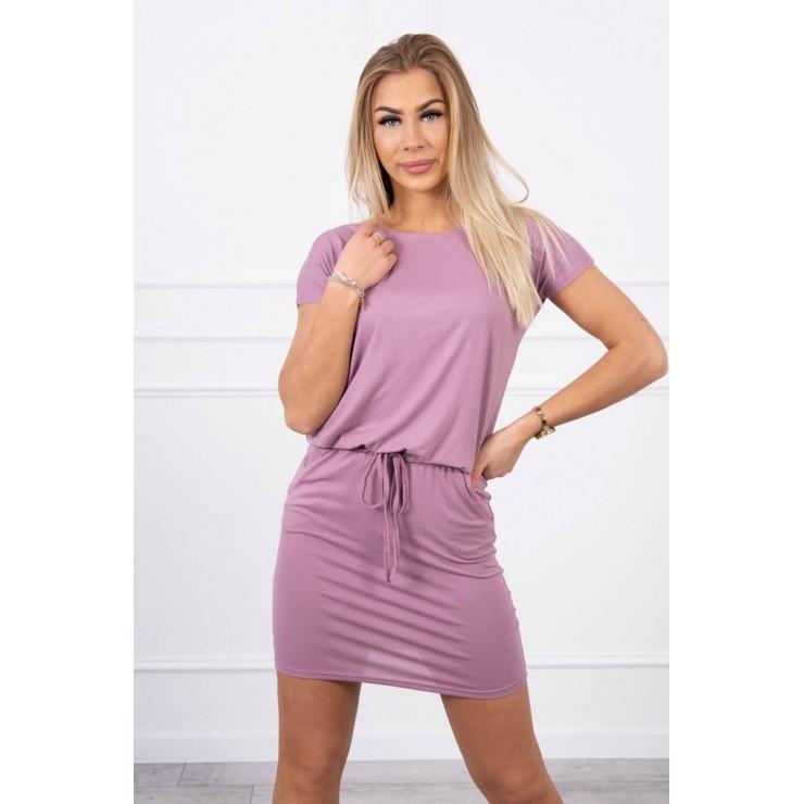 Viskózové šaty zviazané v páse s krátkym rukávom MI9074 tmavoružové