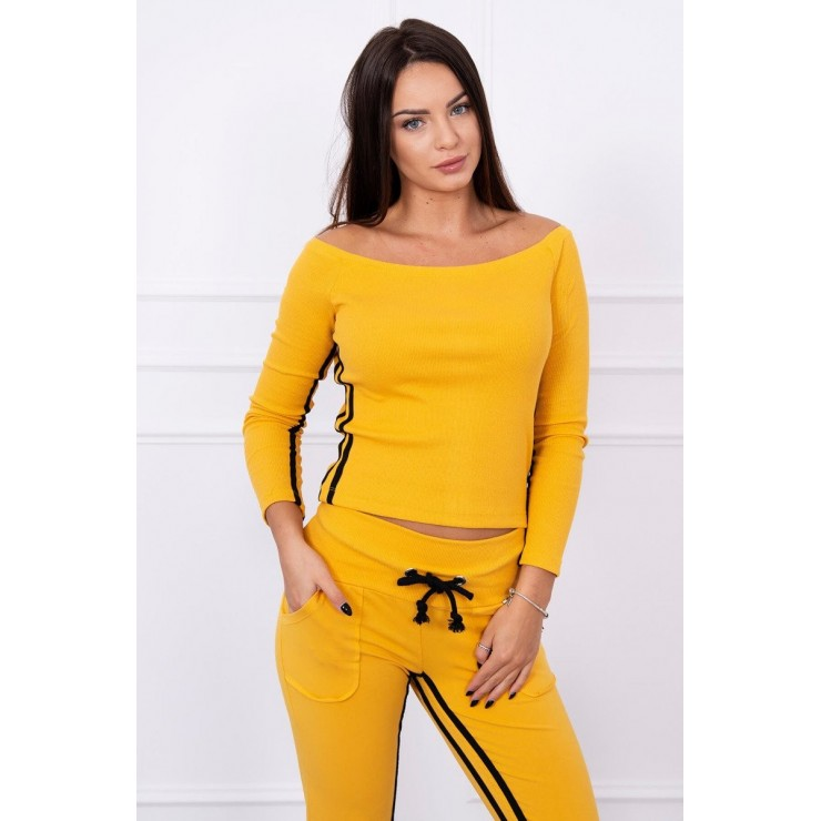 Women's set MI8958 with double stripe dark mustard