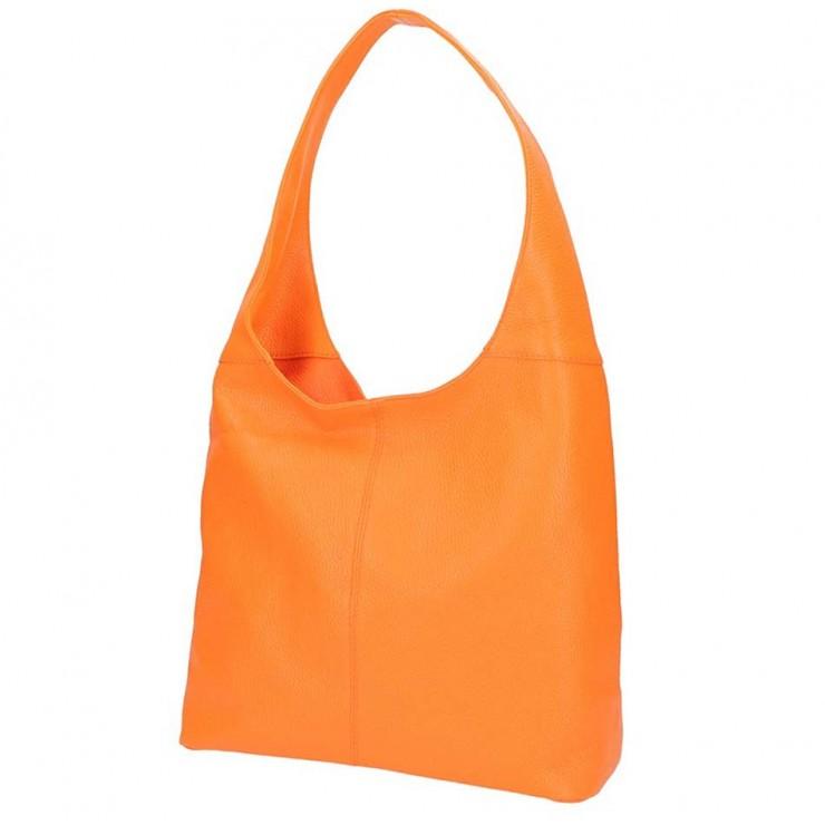Oranžová kožená kabelka na rameno 590