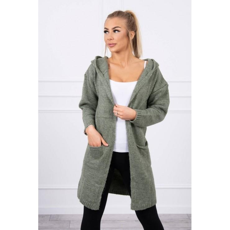 Dámsky sveter s kapucňou MI2020-10 svetlá khaki