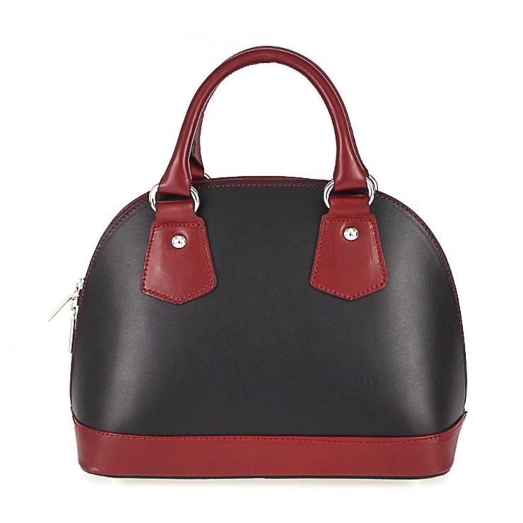 Dámska kožená kabelka 900 čierna + červená