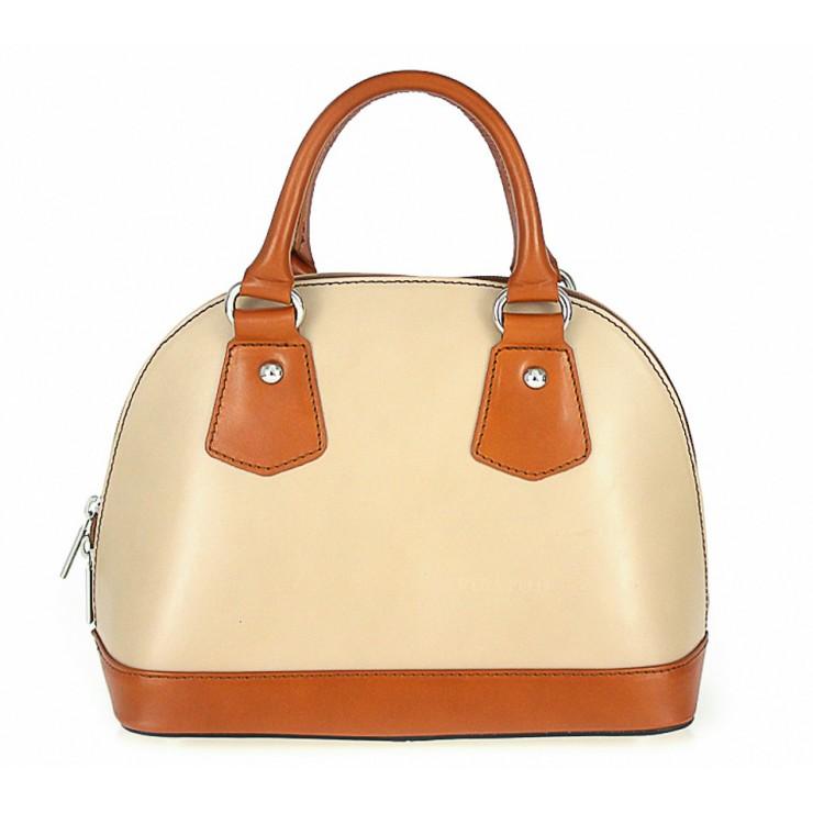 Genuine Leather Handbag 900 taupe + cognac