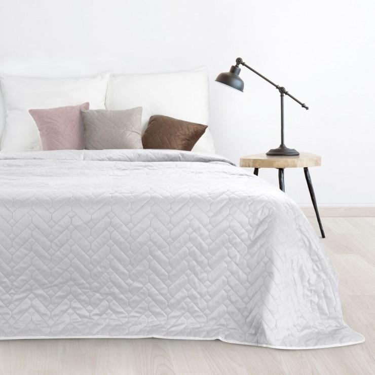 Sametový přehoz na postel Luiz bílý/stříbrný