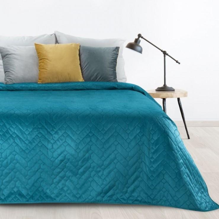 Zamatový prehoz na posteľ Luiz tyrkysový