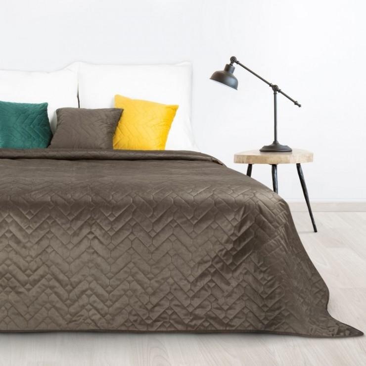 Velvet bedspread for Luiz bed brown