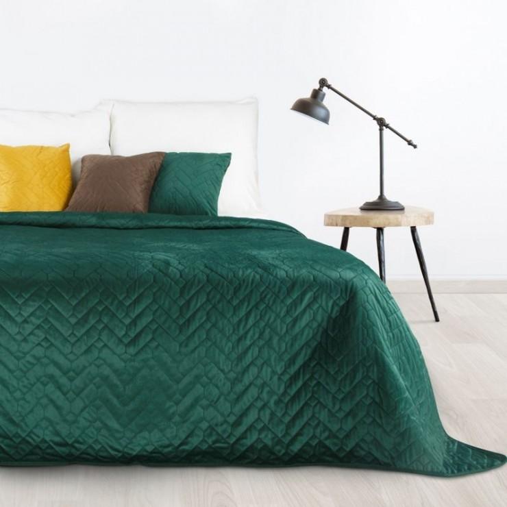 Sametový přehoz na postel Luiz tmavě zelený
