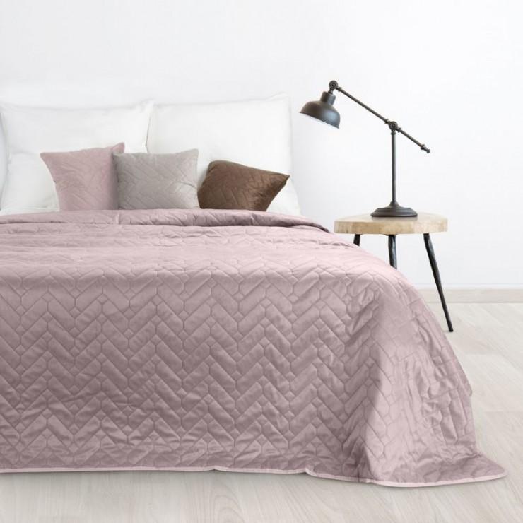 Zamatový prehoz na posteľ Luiz pudrovo ružový